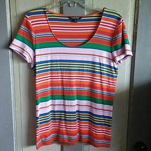 Ralph Lauren Striped Tee Shirt Rainbow of colors